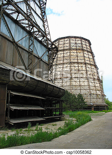 Water cooling tower at old power plant - csp10058362