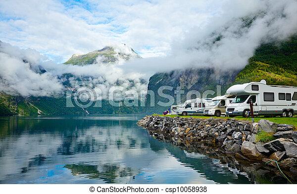 Motorhomes at Norwegian campsite - csp10058938