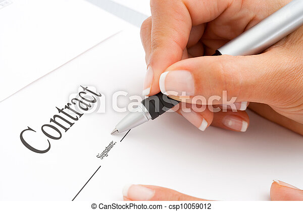 Extreme close up of hand signing. - csp10059012