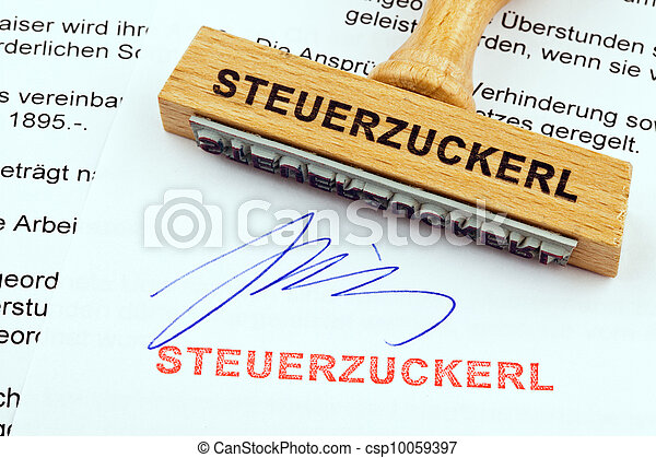 wood stamp on the document: tax treat - csp10059397