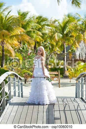 The young beautiful woman in a dress of the bride on the bridge about sea edge. Polynesia. Bora-Bora   - csp10060010