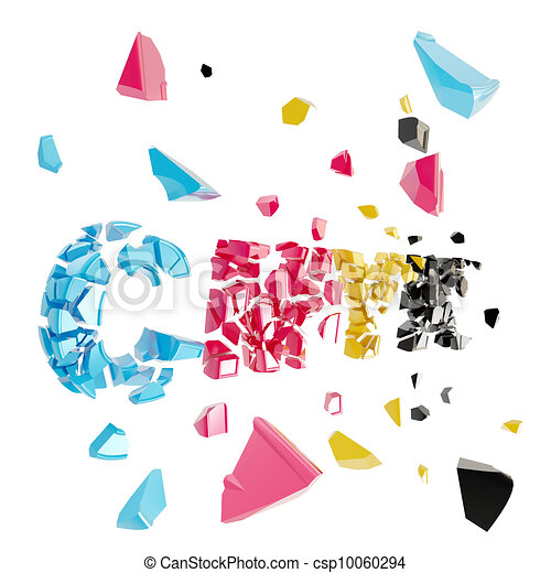 Broken cmyk, smashed word explosion - csp10060294