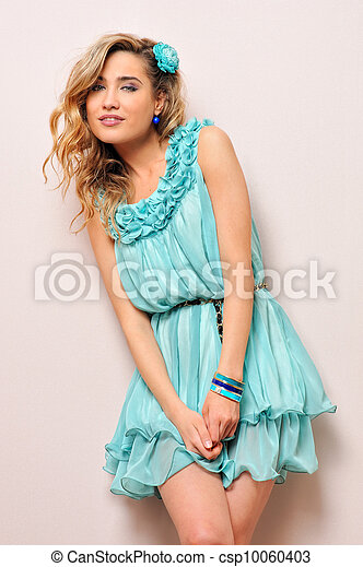 Beautiful blonde in blue dress - csp10060403