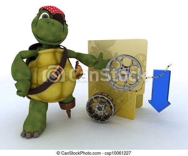 Pirate Tortoise depicting illegal movie downloads - csp10061227