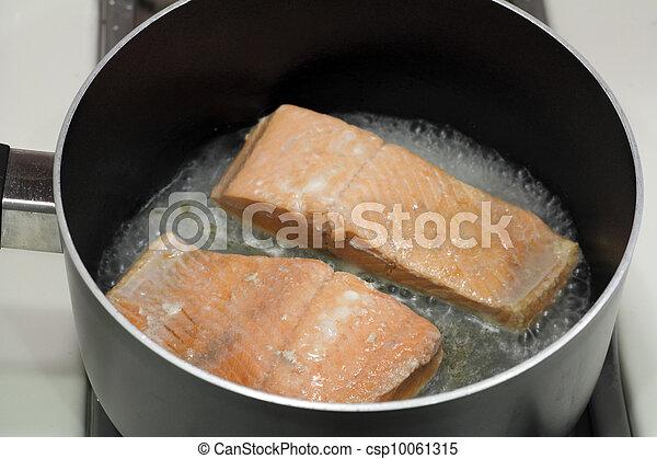 Two Salmon Fillets Poaching - csp10061315