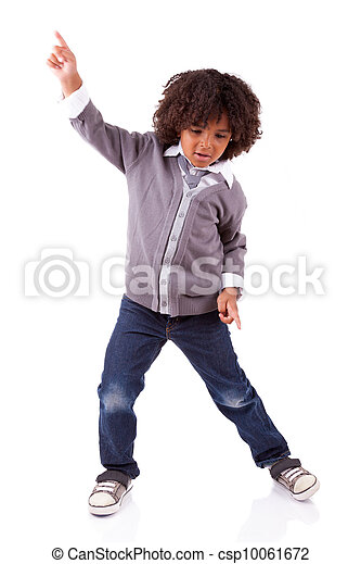 niño, poco, africano, norteamericano, bailando - csp10061672