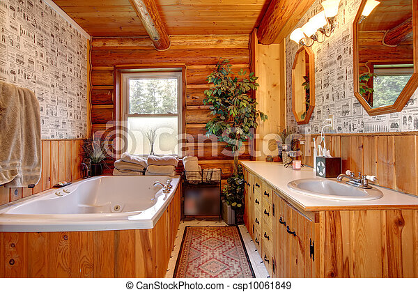 Stock de fotos de tina, cuarto de baño, madera, cabaña ...