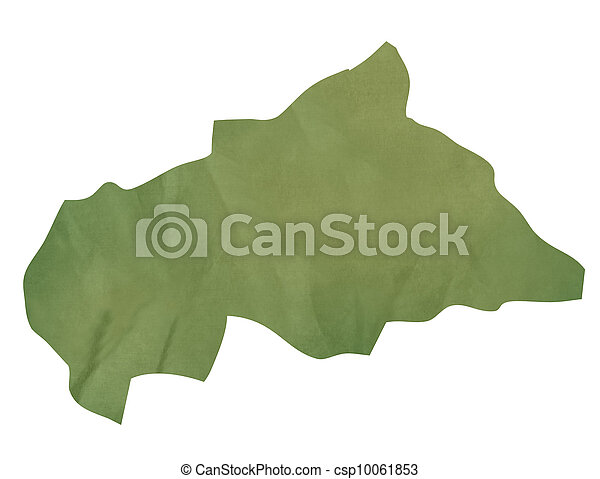 Old green paper map of Central African Republic - csp10061853
