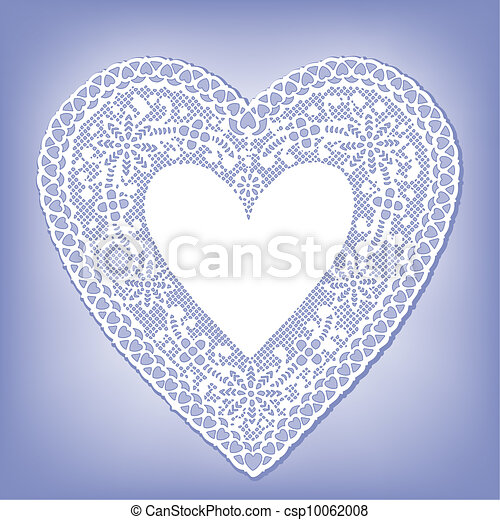 Lace Doily Heart on Pastel Blue - csp10062008