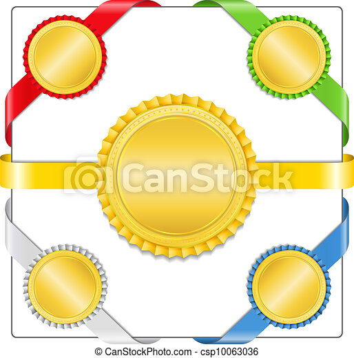 Ribbons with golden medals - csp10063036