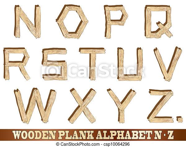 Wooden Plank Alphabet N to Z - csp10064296