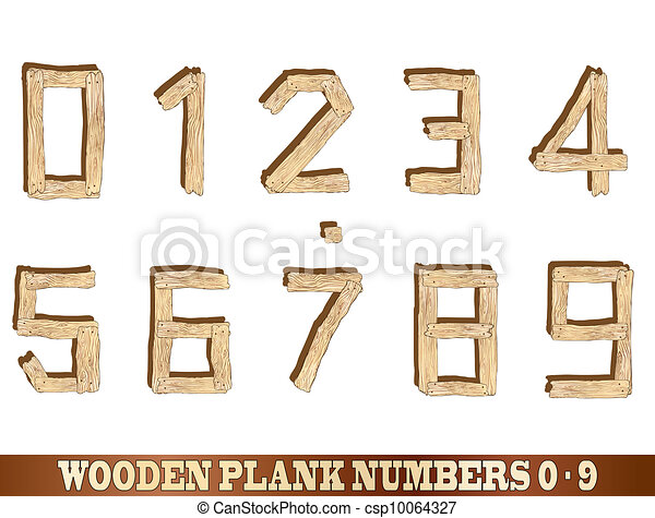 Wooden Plank Numbers - csp10064327
