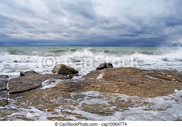 Waves breaking on a rocky coastline - csp10064774