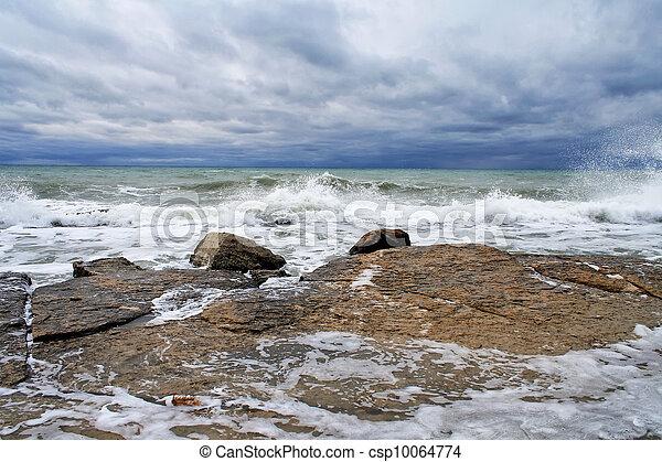 Waves breaking on a rocky coastline - csp10064774