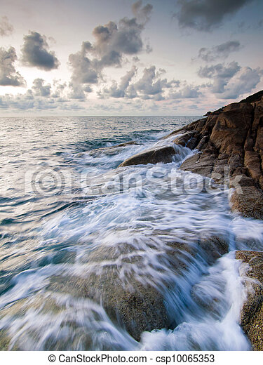 Beautiful seascape. Sea and rock at the sunset - csp10065353
