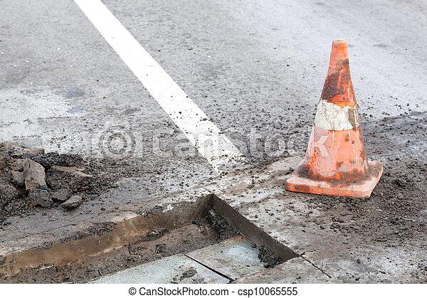Pothole repair works - csp10065555