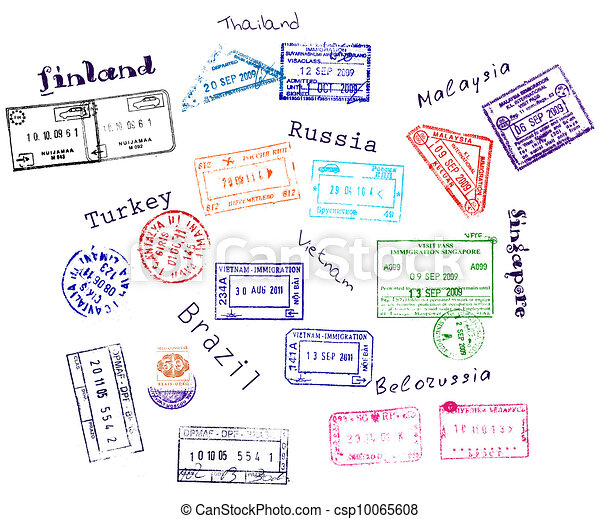 Real visa stamps from 9 countries - csp10065608