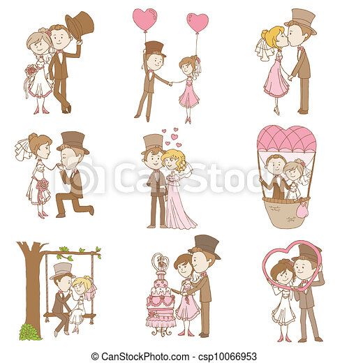 Bride and Groom - Wedding Doodle Set - Design Elements for Scrapbook, Invitation in vector - csp10066953