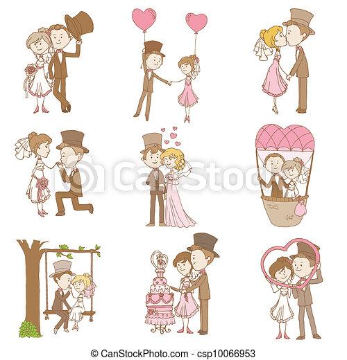 Bride and Groom - Wedding Doodle Set - Design Elements for Scrapbook, Invitation in vector - csp10066953