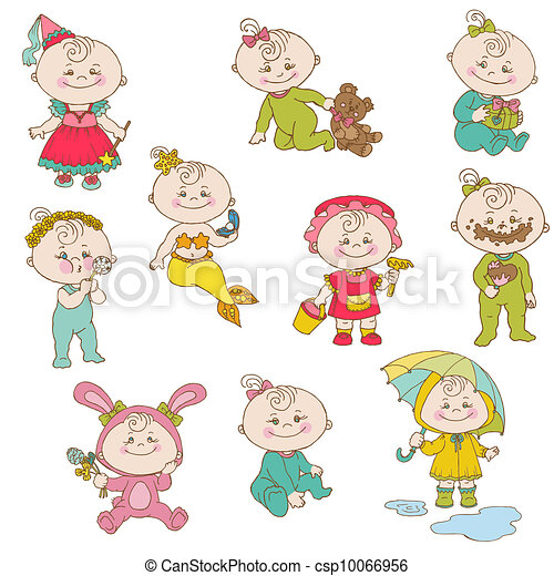 Clipart Vector of Baby Girl Cute Doodles - for design and ...