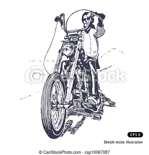 Chopper Motorbike Drawing Rider on a Chopper Hand Drawn