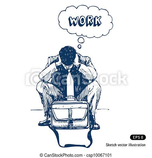Stressed businessman sitting step - csp10067101
