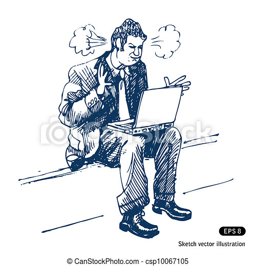 Stressed man sitting on step - csp10067105