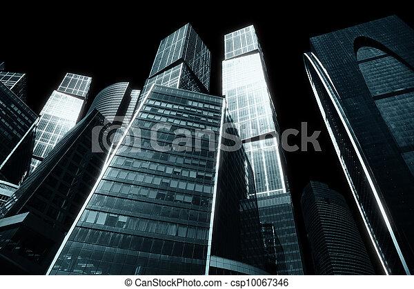 Gloomy city of skyscrapers - csp10067346