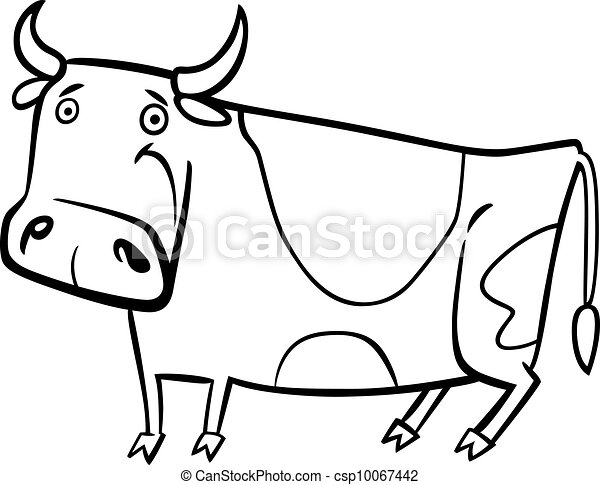 cartoon illustration of farm cow for coloring - csp10067442