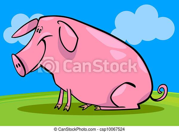 cartoon illustration of farm pig - csp10067524