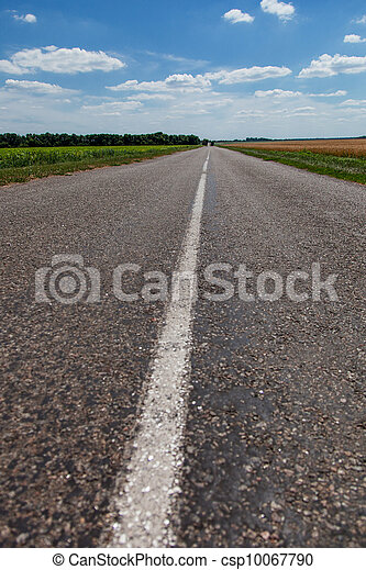 Free asphalt road on steppe - csp10067790