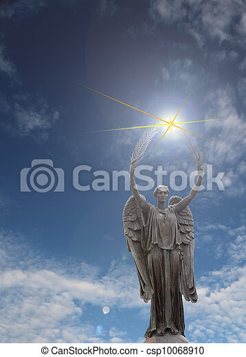 angel statue with palm branches and light rays - csp10068910