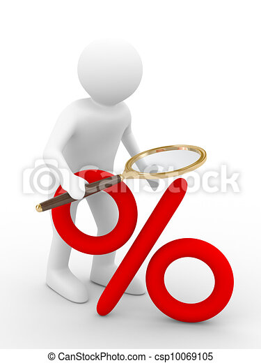 Discounts. Increase percent. Isolated 3D image - csp10069105