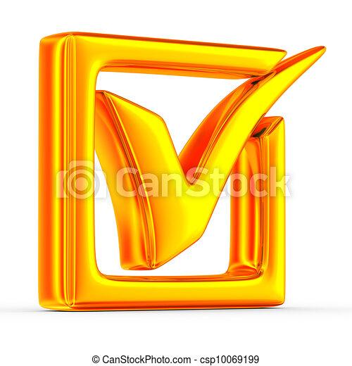 big positive symbol on white background. Isolated 3D image - csp10069199