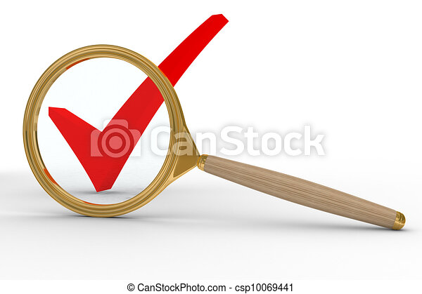 Magnifier and sign agree on white background. Isolated 3D image - csp10069441