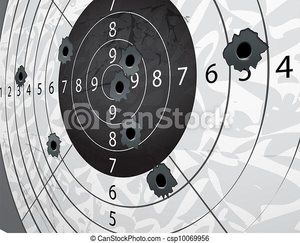 Gun bullet`s holes on paper target in perspective - csp10069956