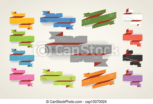 Colorful polygonal origami folded vintage banners. Place your text here - csp10070024