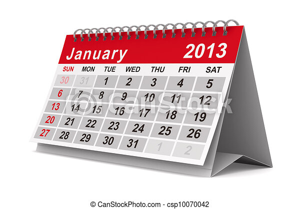 2013 year calendar. January. Isolated 3D image - csp10070042