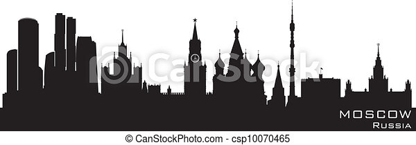 Moscow, Russia skyline. Detailed vector silhouette - csp10070465