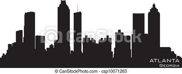 Atlanta, Georgia skyline. Detailed vector silhouette - csp10071263