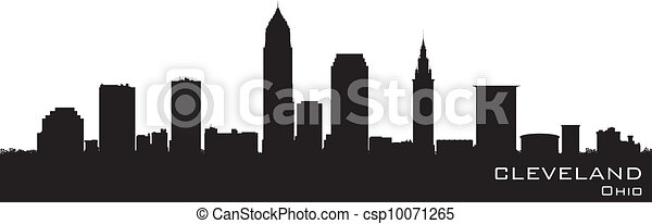 Cleveland, Ohio skyline. Detailed vector silhouette - csp10071265