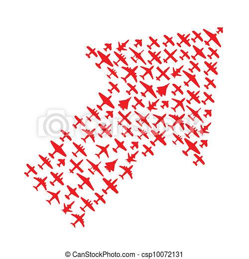 Right-top arrow of vector airplanes - csp10072131