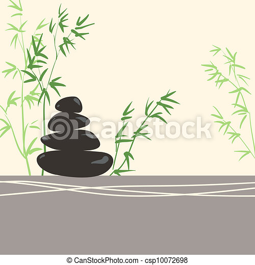 Spa Concept Stylized Zen Basalt Stones with Green Bamboo and Leaves - csp10072698
