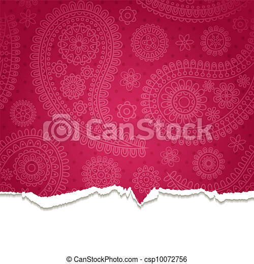 Torn paper with a paisley pattern. - csp10072756