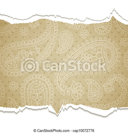 Torn paper with a paisley pattern. - csp10072776