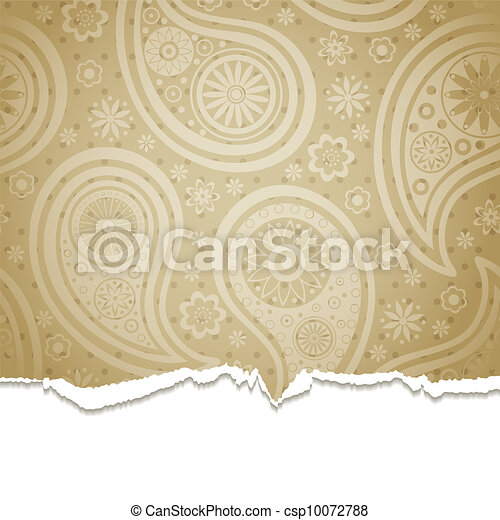 Torn paper with a paisley pattern. - csp10072788