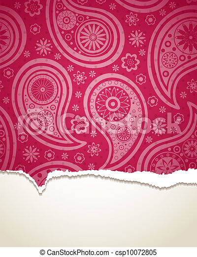 Torn paper with a paisley pattern. - csp10072805