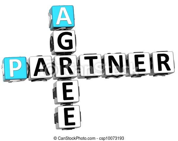 3D Agree Partner Crossword - csp10073193