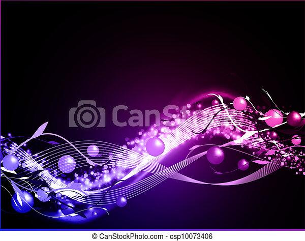 wavy glowing neon background - csp10073406