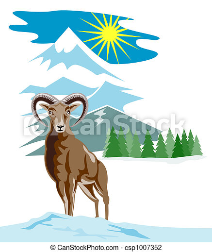 Wild goat with mountains - csp1007352